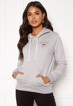 GANT Gant Shield Sweat Hoodie 94 Light Grey Melang Bubbleroom.no