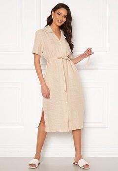 GANT Linen Chambray SS Shirt Dress Dry Sand Bubbleroom.no