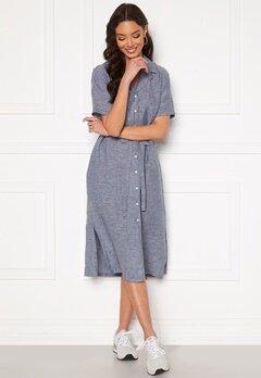 GANT Linen Chambray SS Shirt Dress Persian Blue Bubbleroom.no