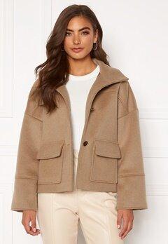 GANT Wool Blend Cropped Jacket 213 Warm Khaki Bubbleroom.no