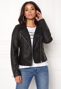 ONLY Gemma Faux Leather Biker Black Bubbleroom.no
