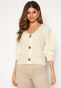 Girl In Mind Aria 3 Button Long Sleeve Knit Cardigan Creme Bubbleroom.no