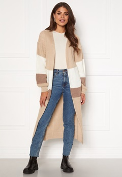Girl In Mind Cara Panelled Longline Cardigan Creme Bubbleroom.no