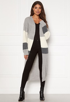 Girl In Mind Cara Panelled Longline Cardigan Grey Bubbleroom.no