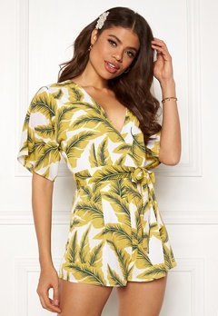 Girl In Mind Cecilla V Neck Playsuit Yellow Palm Bubbleroom.no
