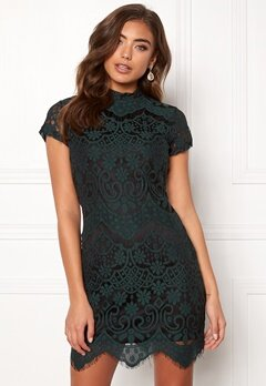 Girl In Mind Emilia Lace Mini Dress Bottle Green Bubbleroom.no