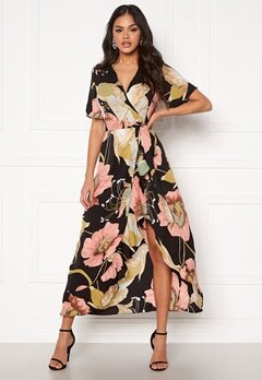 Girl In Mind Farren Split Maxi Dress Peach Bubbleroom.no