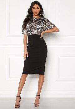 Girl In Mind Fleur Batwing Midi Dress Leopard/Black Bubbleroom.no