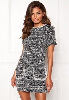 Girl In Mind Hallie Tweed Shift Dress Blk Bubbleroom.no