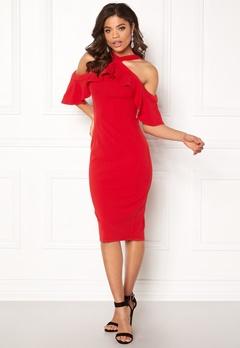 Girl In Mind Halterneck Frill Dress Red Bubbleroom.no