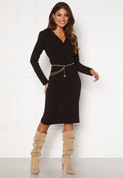 Girl In Mind Josephine Long Sleeve Belted Midi Dress Black Bubbleroom.no