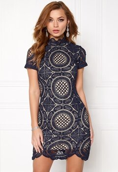 Girl In Mind Lace Dress Navy Bubbleroom.no
