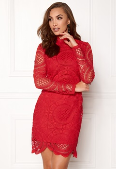 Girl In Mind Lilah Lace Long Sleeve Red Bubbleroom.no