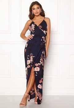 Girl In Mind Mia Wrap Maxi Dress Navy Bubbleroom.no