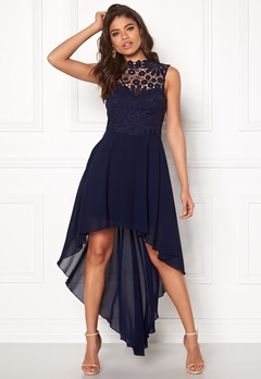Girl In Mind Midi Lace Dress Navy Bubbleroom.no
