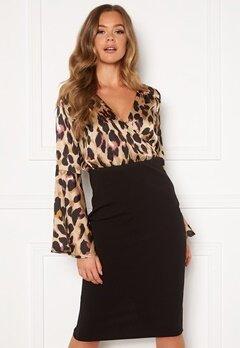 Girl In Mind Mya Wrap Front Midi Dress Leopard Print Bubbleroom.no