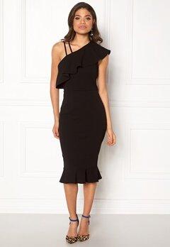 Girl In Mind One Shoulder Frill Dress Black Bubbleroom.no