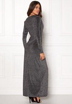 Girl In Mind Plunge V Neck Wrap Dress Black/silver Bubbleroom.no