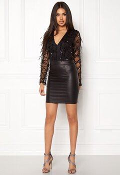 Girl In Mind Sequin Mesh Body Black Bubbleroom.no