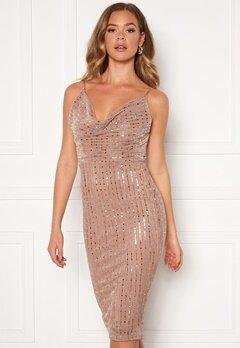 Girl In Mind Valentina Cowl Neck Sequin Midi Dress Mocha Bubbleroom.no