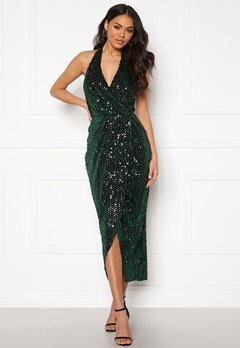 Girl In Mind Vera V Neck Sequin Dress Green Bubbleroom.no
