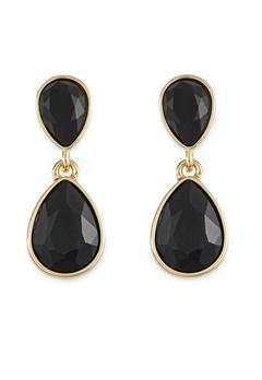 BY JOLIMA Glam Double Drop Earring Black/Gold Bubbleroom.no