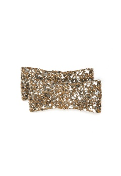 Heelow Glitter Bow Clips Guld Bubbleroom.no