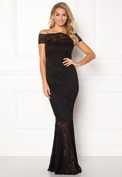 Goddiva Bardot Lace Maxi Dress Black Bubbleroom.no