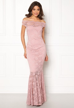 Goddiva Bardot Lace Maxi Dress Mauve Bubbleroom.no