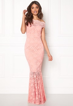 Goddiva Bardot Lace Maxi Dress Pink Bubbleroom.no
