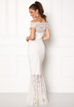Goddiva Bardot Lace Maxi Dress White Bubbleroom.no