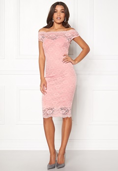 Goddiva Bardot Lace Midi Dress Pink Bubbleroom.no