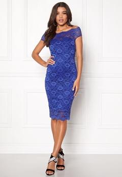 Goddiva Bardot Lace Midi Dress Royal Blue Bubbleroom.no