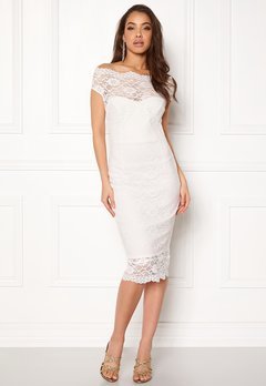 Goddiva Bardot Lace Midi Dress White Bubbleroom.no