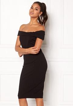 Goddiva Bardot Midi Dress Bow Black Bubbleroom.no