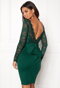 Goddiva Bardot Midi Dress Bow Emerald Bubbleroom.no