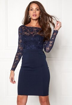 Goddiva Bardot Midi Dress Bow Navy Bubbleroom.no