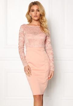 Goddiva Bardot Midi Dress Bow Nude Bubbleroom.no
