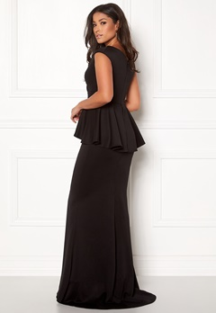 Goddiva Bardot Peplum Maxi Dress Black Bubbleroom.no