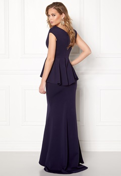 Goddiva Bardot Peplum Maxi Dress Navy Bubbleroom.no