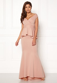 Goddiva Bardot Peplum Maxi Dress Nude Bubbleroom.no