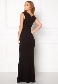Goddiva Bardot Pleat Maxi Dres Black Bubbleroom.no