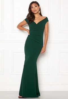 Goddiva Bardot Pleat Maxi Dress Emerald Bubbleroom.no