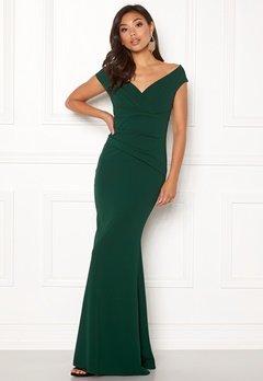 Goddiva Bardot Pleat Maxi Dress Emerald Bubbleroom.no