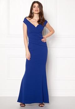 Goddiva Bardot Pleat Maxi Dres Royal Blue Bubbleroom.no