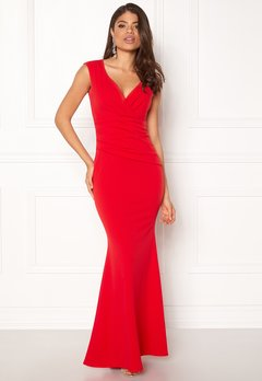 Goddiva Bardot Pleat Maxi Dres Red Bubbleroom.no