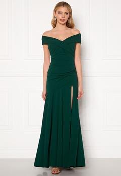 Goddiva Bardot Pleat Maxi Split Dress Emerald Bubbleroom.no