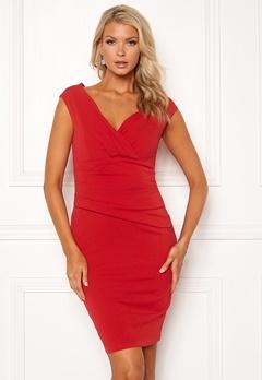 Goddiva Bardot Pleat Midi Dress Red Bubbleroom.no