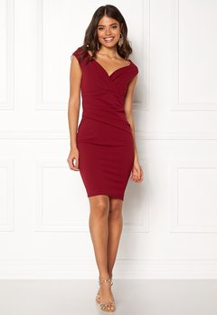 Goddiva Bardot Pleat Midi Dress Wine Bubbleroom.no