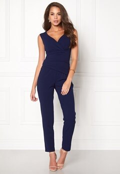 Goddiva Bardot Pleated Jumpsuit Navy Bubbleroom.no